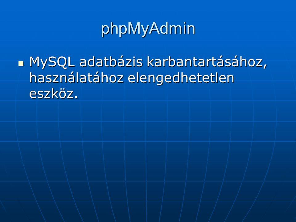 phpMyAdmin MySQL adatbázis karbantartásához, használatához elengedhetetlen eszköz. MySQL adatbázis karbantartásához, használatához elengedhetetlen esz