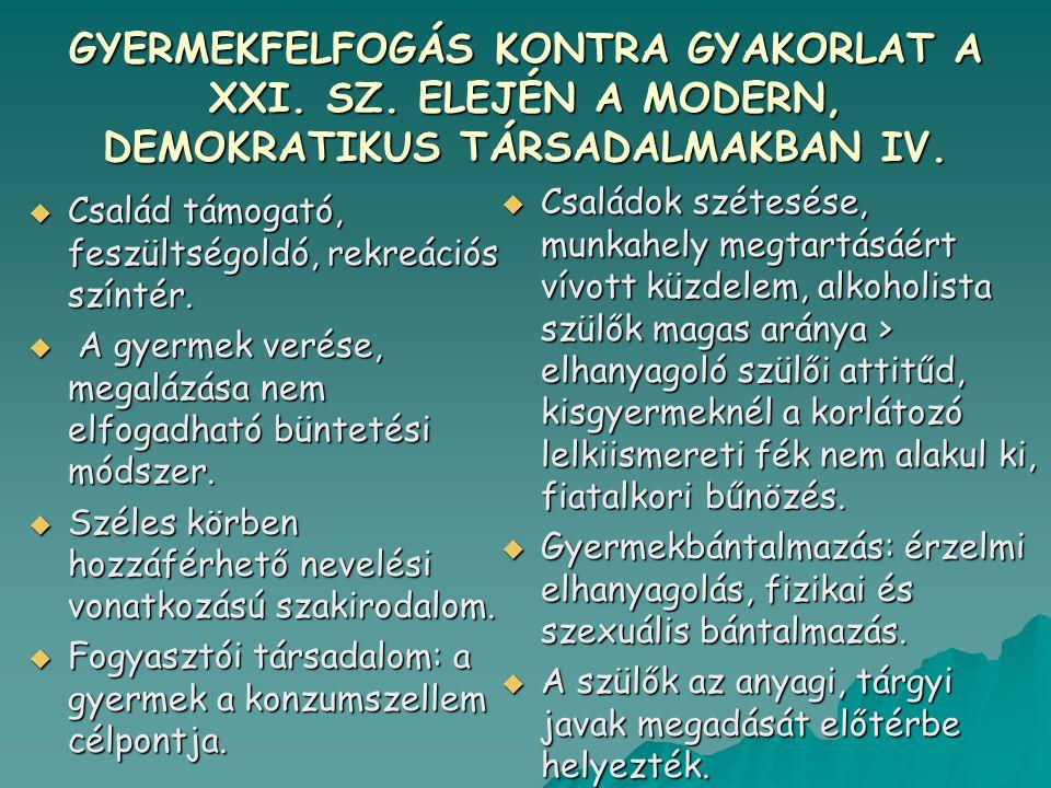 GYERMEKFELFOGÁS KONTRA GYAKORLAT A XXI. SZ. ELEJÉN A MODERN, DEMOKRATIKUS TÁRSADALMAKBAN IV.  Család támogató, feszültségoldó, rekreációs színtér. 