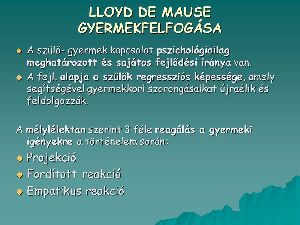 LLOYD DE MAUSE GYERMEKFELFOGÁSA  A szülő- gyermek kapcsolat pszichológiailag meghatározott és sajátos fejlődési iránya van.  A fejl. alapja a szülők