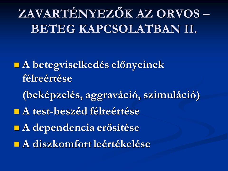 ZAVARTÉNYEZŐK AZ ORVOS – BETEG KAPCSOLATBAN II.