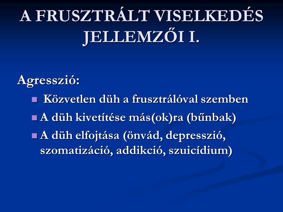 A FRUSZTRÁLT VISELKEDÉS JELLEMZŐI I.