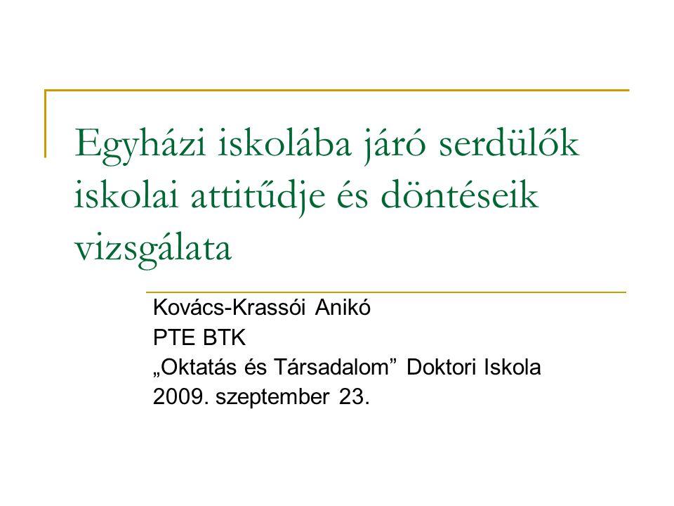 """Egyházi iskolába járó serdülők iskolai attitűdje és döntéseik vizsgálata Kovács-Krassói Anikó PTE BTK """"Oktatás és Társadalom Doktori Iskola 2009."""