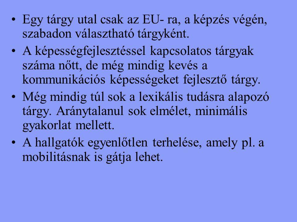 Egy tárgy utal csak az EU- ra, a képzés végén, szabadon választható tárgyként.
