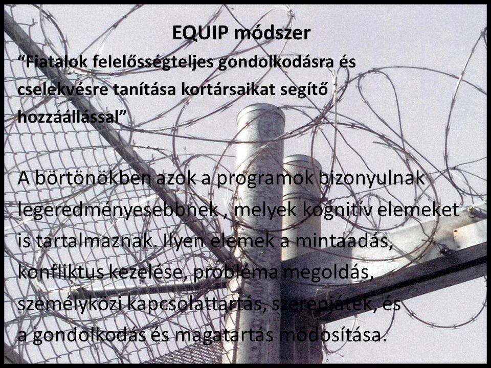 """EQUIP módszer """"Fiatalok felelősségteljes gondolkodásra és cselekvésre tanítása kortársaikat segítő hozzáállással"""" A börtönökben azok a programok bizon"""