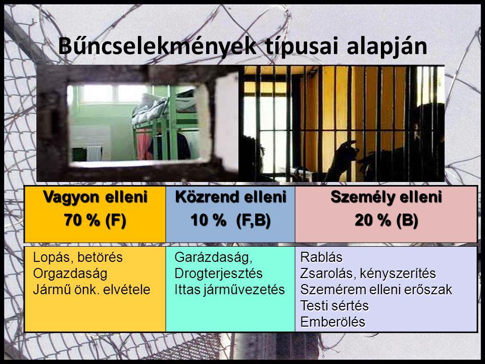 Bűncselekmények típusai alapján Vagyon elleni 70 % (F) Közrend elleni 10 % (F,B) Személy elleni 20 % (B) Lopás, betörés Orgazdaság Jármű önk. elvétele