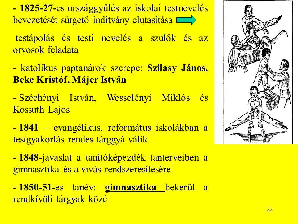 22 - 1825-27-es országgyűlés az iskolai testnevelés bevezetését sürgető indítvány elutasítása testápolás és testi nevelés a szülők és az orvosok feladata - katolikus paptanárok szerepe: Szilasy János, Beke Kristóf, Májer István - Széchényi István, Wesselényi Miklós és Kossuth Lajos - 1841 – evangélikus, református iskolákban a testgyakorlás rendes tárggyá válik - 1848-javaslat a tanítóképezdék tanterveiben a gimnasztika és a vívás rendszeresítésére - 1850-51-es tanév: gimnasztika bekerül a rendkívüli tárgyak közé