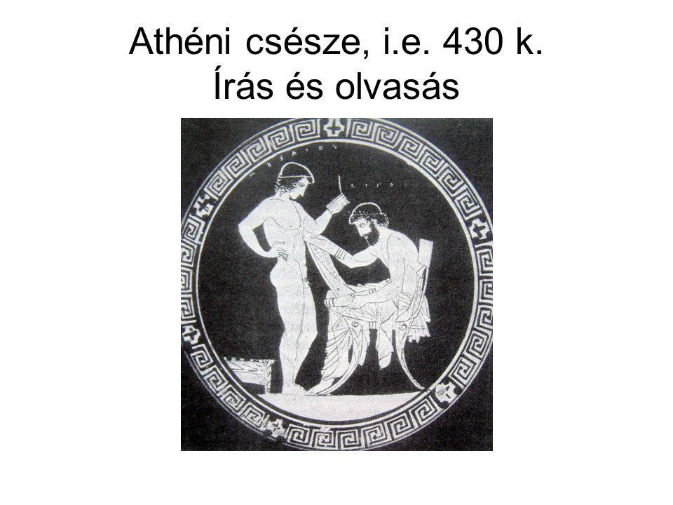 Athéni csésze, i.e. 430 k. Írás és olvasás