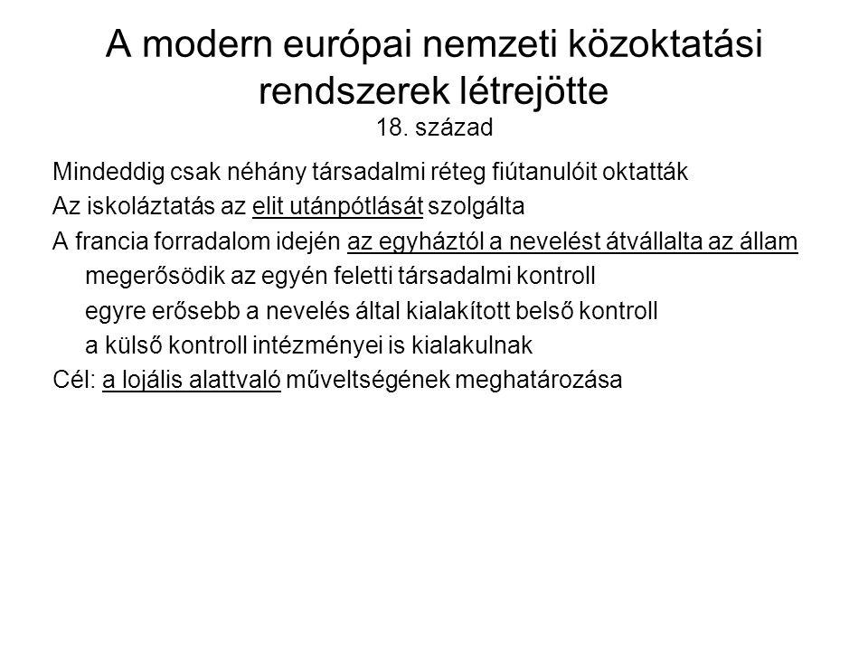 A modern európai nemzeti közoktatási rendszerek létrejötte 18.