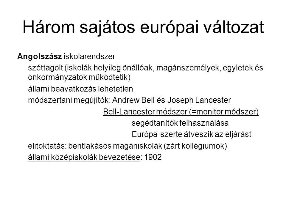 Három sajátos európai változat Angolszász iskolarendszer széttagolt (iskolák helyileg önállóak, magánszemélyek, egyletek és önkormányzatok működtetik) állami beavatkozás lehetetlen módszertani megújítók: Andrew Bell és Joseph Lancester Bell-Lancester módszer (=monitor módszer) segédtanítók felhasználása Európa-szerte átveszik az eljárást elitoktatás: bentlakásos magániskolák (zárt kollégiumok) állami középiskolák bevezetése: 1902