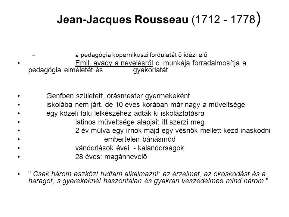 zenésznek mondja magát kidolgoz egy új kottaírási rendszert - a párizsi Akadémián nem arat sikert vele filozófusokkal barátkozik beszáll az Enciklopédia zenei szócikkeinek megírásába 1749: dijoni Akadémia pályadíja A becsület a tudatlanság gyermeke, a tudomány és az erény összeférhetetlenek. 1754: újabb értekezés az emberi egyenlőtlenség okairól arisztokraták barátságát hozza neki e demokratizmust hirdető munka s életreszóló ellenfele lesz: Voltaire nagyvilági életnek sem áll ellent Montmorency erdő szélére költözik egy időre 1762: Emil, avagy a nevelésről -pedagógiai regény heves reakciók övezik a munkát de nem a pedagógiai, hanem a természetvallás -gondolatai miatt elfogatóparancs, a könyv nyilvános elégetése bujdosás (Svájc, Anglia - D.