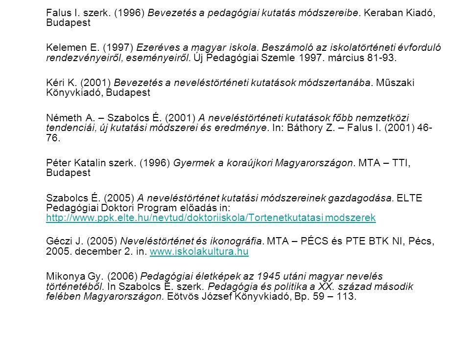 Falus I. szerk. (1996) Bevezetés a pedagógiai kutatás módszereibe. Keraban Kiadó, Budapest Kelemen E. (1997) Ezeréves a magyar iskola. Beszámoló az is