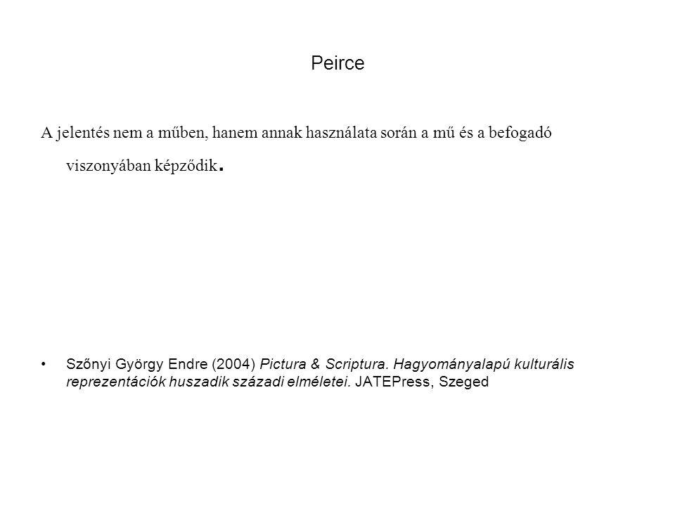 Peirce A jelentés nem a műben, hanem annak használata során a mű és a befogadó viszonyában képződik. Szőnyi György Endre (2004) Pictura & Scriptura. H