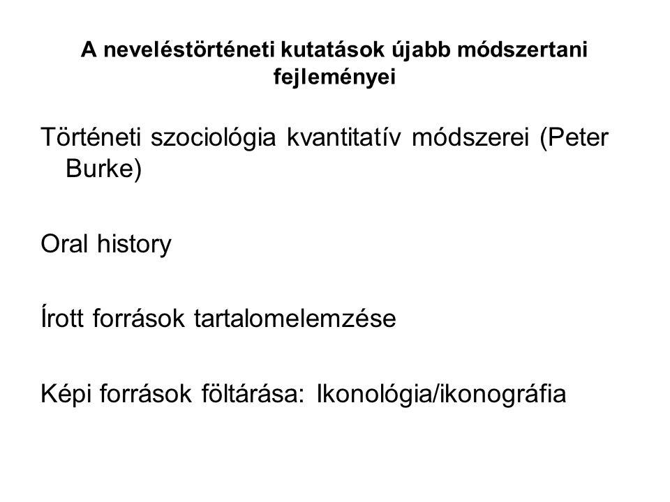 A neveléstörténeti kutatások újabb módszertani fejleményei Történeti szociológia kvantitatív módszerei (Peter Burke) Oral history Írott források tartalomelemzése Képi források föltárása: Ikonológia/ikonográfia