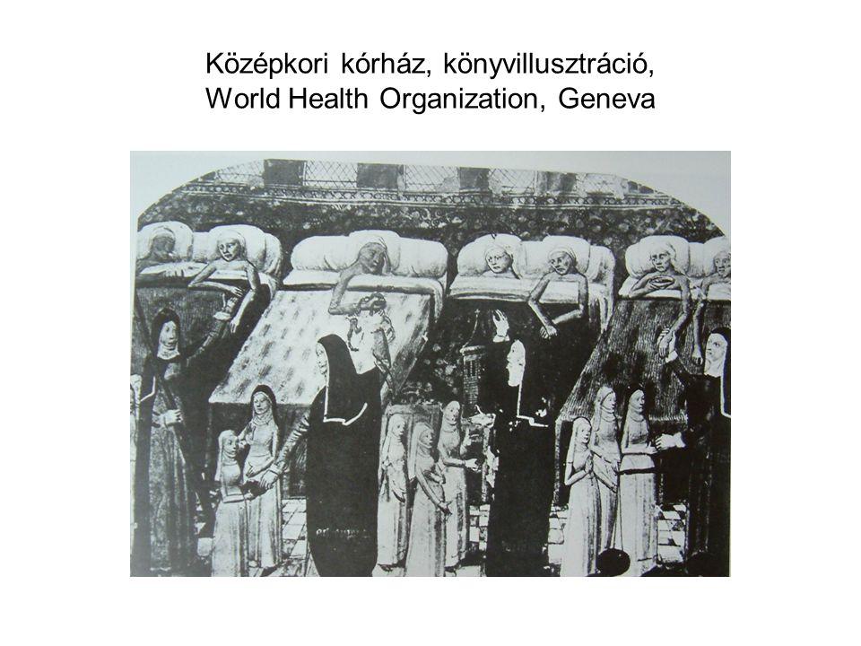 Középkori kórház, könyvillusztráció, World Health Organization, Geneva