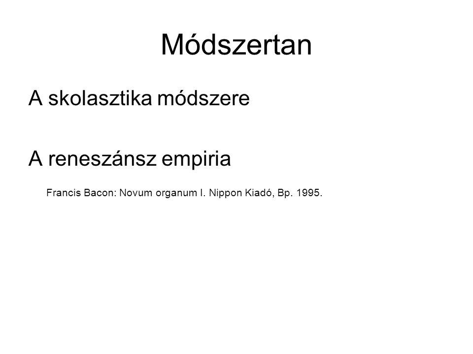 Módszertan A skolasztika módszere A reneszánsz empiria Francis Bacon: Novum organum I. Nippon Kiadó, Bp. 1995.