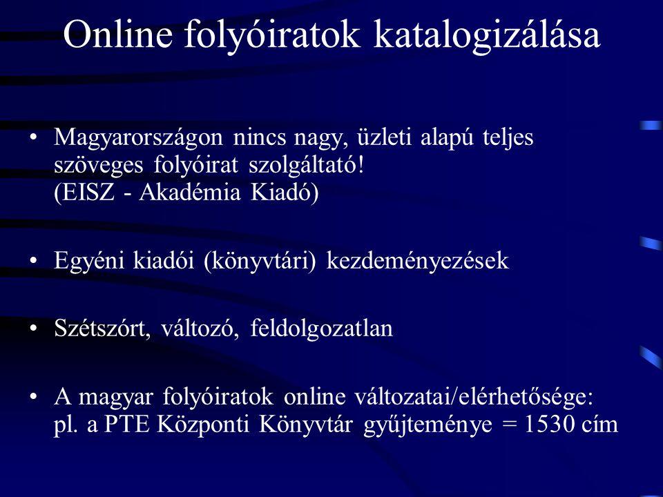 Online folyóiratok katalogizálása Magyarországon nincs nagy, üzleti alapú teljes szöveges folyóirat szolgáltató! (EISZ - Akadémia Kiadó) Egyéni kiadói