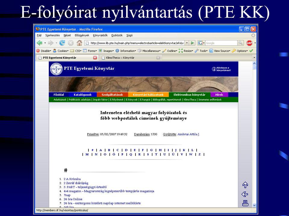 E-folyóirat nyilvántartás (PTE KK)