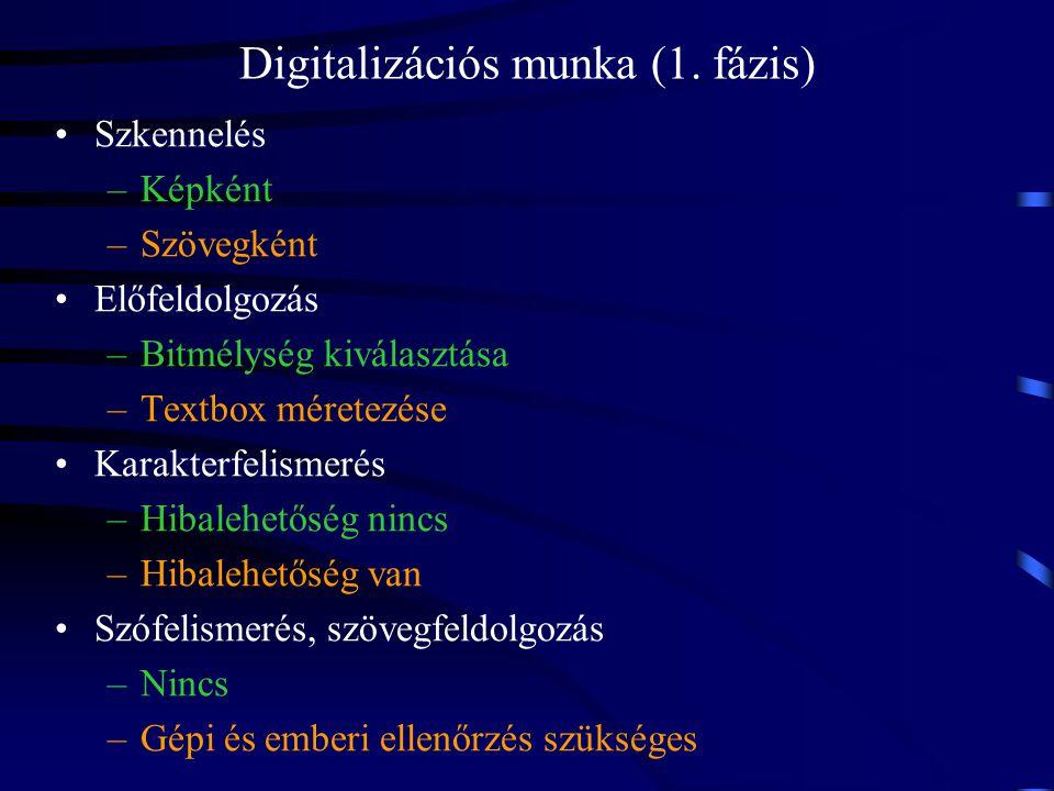 Szkennelés –Képként –Szövegként Előfeldolgozás –Bitmélység kiválasztása –Textbox méretezése Karakterfelismerés –Hibalehetőség nincs –Hibalehetőség van
