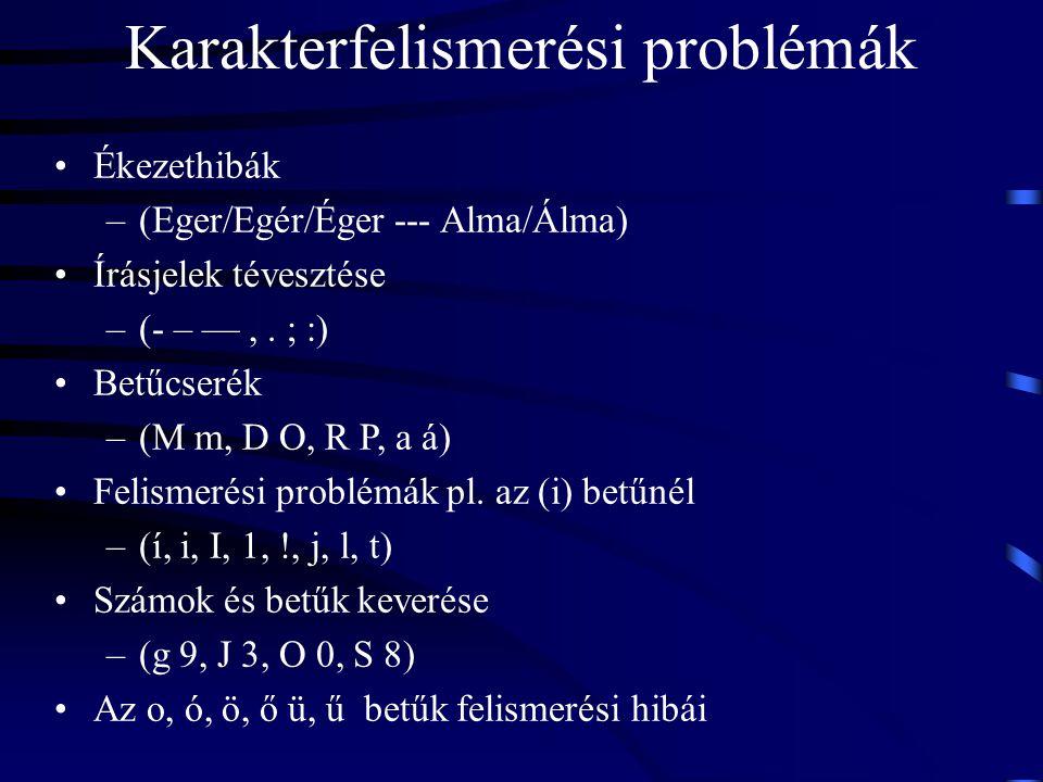 Karakterfelismerési problémák Ékezethibák –(Eger/Egér/Éger --- Alma/Álma) Írásjelek tévesztése –(- – —,. ; :) Betűcserék –(M m, D O, R P, a á) Felisme