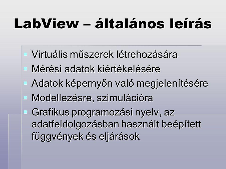 LabView – általános leírás  Virtuális műszerek létrehozására  Mérési adatok kiértékelésére  Adatok képernyőn való megjelenítésére  Modellezésre, szimulációra  Grafikus programozási nyelv, az adatfeldolgozásban használt beépített függvények és eljárások