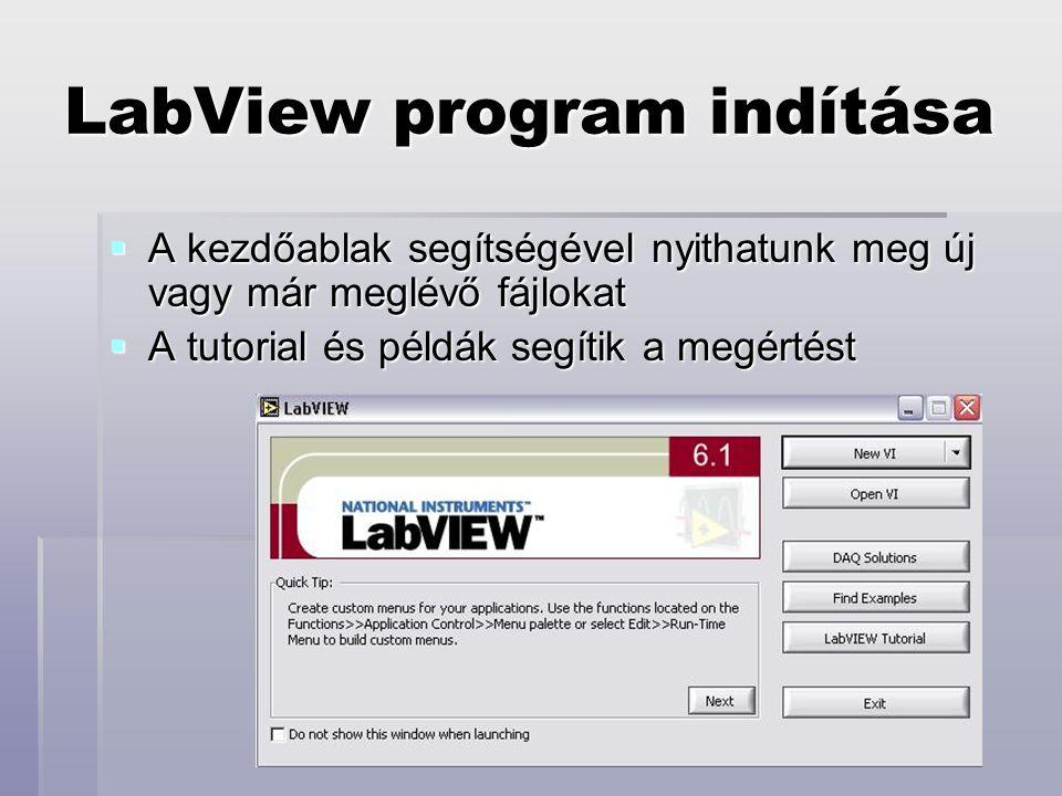 LabView program indítása  A kezdőablak segítségével nyithatunk meg új vagy már meglévő fájlokat  A tutorial és példák segítik a megértést