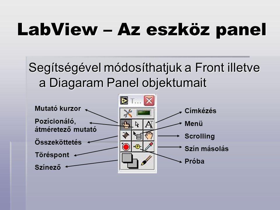 LabView – A front panel  Háromféle elem helyezhető itt el:  Vezérlő elemek  ezek a program bemenetei; értékük manuálisan változtatható  Kijelzők  program kimenetei; értéküket a program futása közben nyerik  Dekoráció