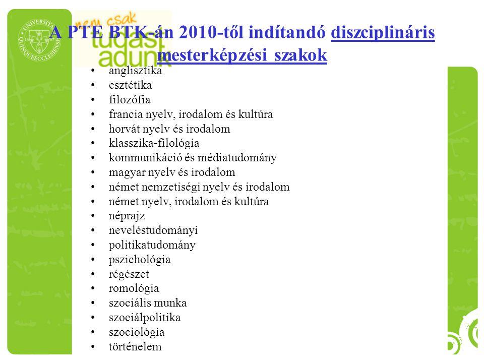 A PTE BTK-án 2010-től indítandó diszciplináris mesterképzési szakok anglisztika esztétika filozófia francia nyelv, irodalom és kultúra horvát nyelv és