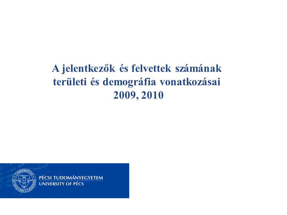 A jelentkezők és felvettek számának területi és demográfia vonatkozásai 2009, 2010