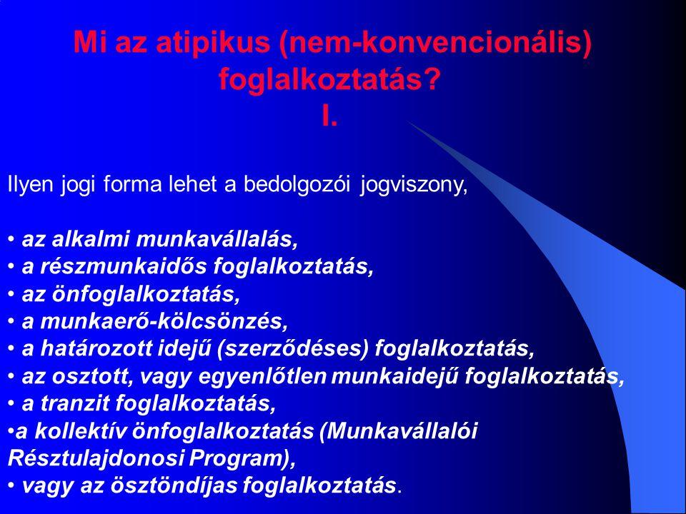 Mi az atipikus (nem-konvencionális) foglalkoztatás? I. Ilyen jogi forma lehet a bedolgozói jogviszony, az alkalmi munkavállalás, a részmunkaidős fogla