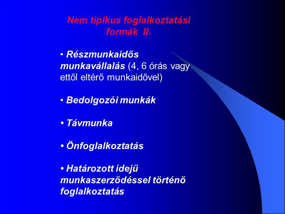 Nem tipikus foglalkoztatási formák II. Részmunkaidős munkavállalás (4, 6 órás vagy ettől eltérő munkaidővel) Bedolgozói munkák Távmunka Önfoglalkoztat