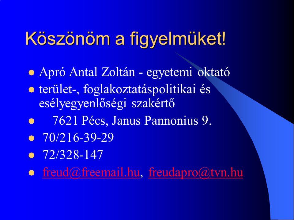 Köszönöm a figyelmüket! Apró Antal Zoltán - egyetemi oktató terület-, foglakoztatáspolitikai és esélyegyenlőségi szakértő 7621 Pécs, Janus Pannonius 9