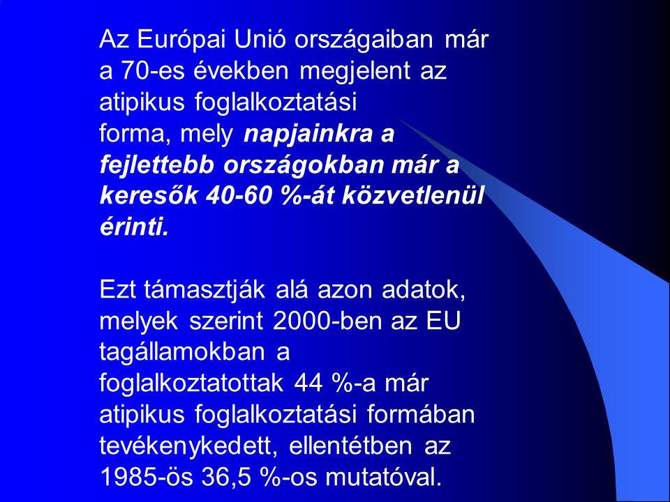 Néhány összehasonlító adat foglakoztatás uniós átlag % hazai átlag % összes64,156,6 fiatalok40,729 idősebbek40,126,6 nők5650 részmunkaidős154