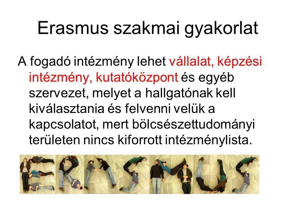 Erasmus szakmai gyakorlat A fogadó intézmény lehet vállalat, képzési intézmény, kutatóközpont és egyéb szervezet, melyet a hallgatónak kell kiválaszta