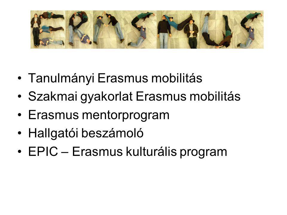 Tanulmányi Erasmus mobilitás Szakmai gyakorlat Erasmus mobilitás Erasmus mentorprogram Hallgatói beszámoló EPIC – Erasmus kulturális program