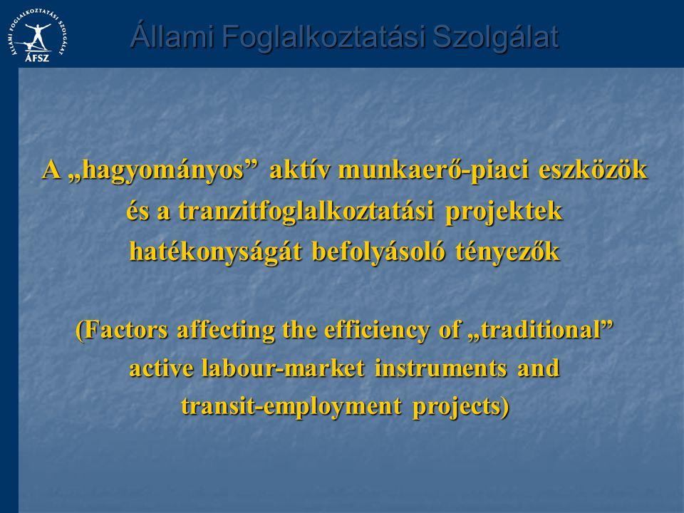 """A """"hagyományos aktív munkaerő-piaci eszközök és a tranzitfoglalkoztatási projektek hatékonyságát befolyásoló tényezők (Factors affecting the efficiency of """"traditional active labour-market instruments and transit-employment projects) Állami Foglalkoztatási Szolgálat"""