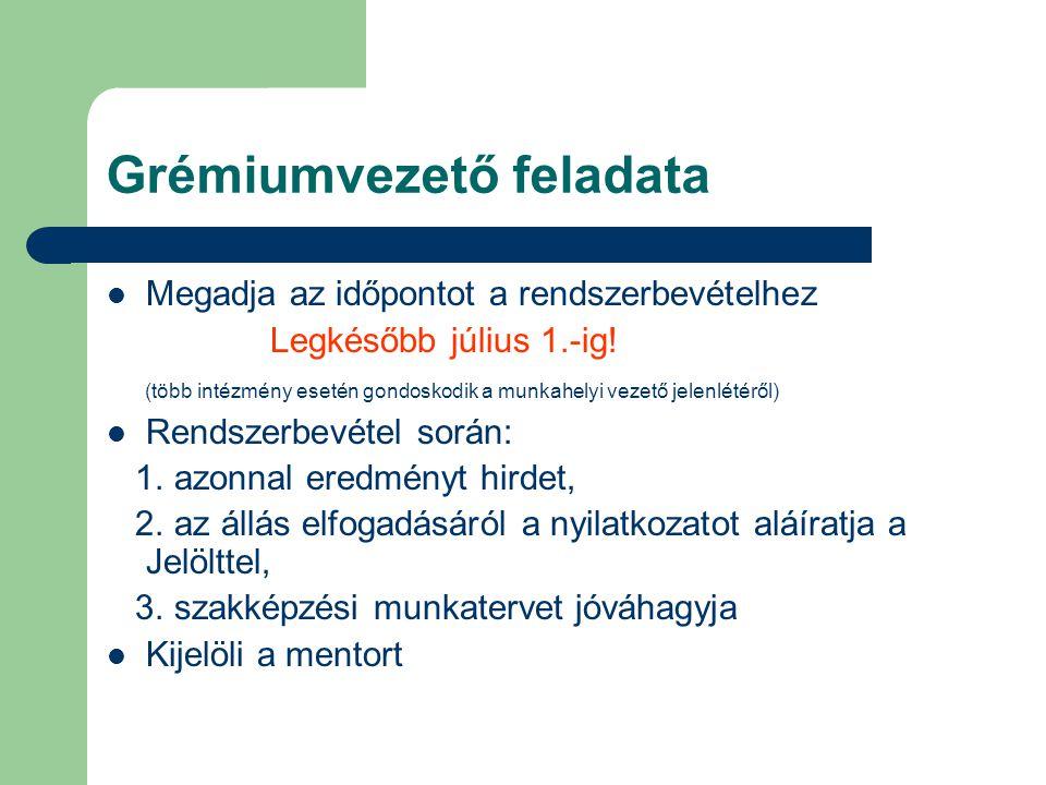 Grémiumvezető feladata Megadja az időpontot a rendszerbevételhez Legkésőbb július 1.-ig! (több intézmény esetén gondoskodik a munkahelyi vezető jelenl