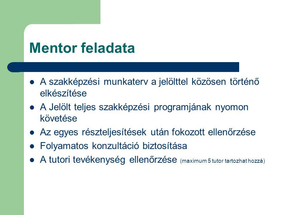Mentor feladata A szakképzési munkaterv a jelölttel közösen történő elkészítése A Jelölt teljes szakképzési programjának nyomon követése Az egyes rész