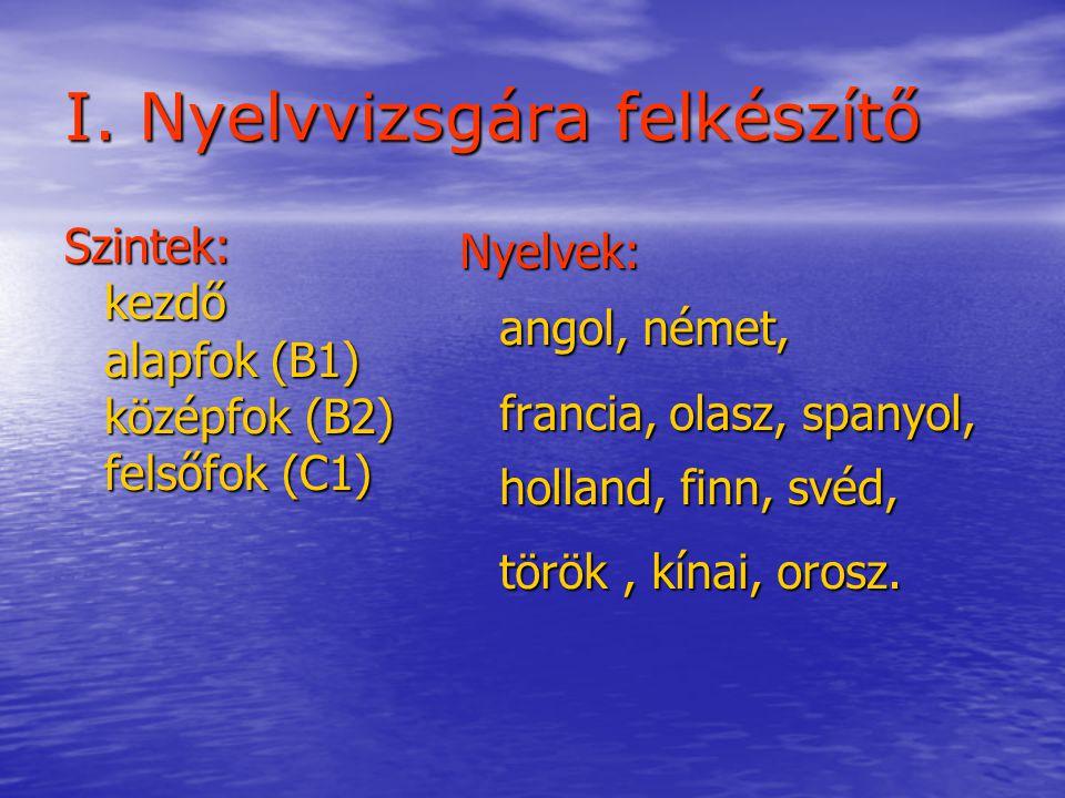 I. Nyelvvizsgára felkészítő Szintek:kezdő alapfok (B1) középfok (B2) felsőfok (C1) Nyelvek: angol, német, francia, olasz, spanyol, holland, finn, svéd