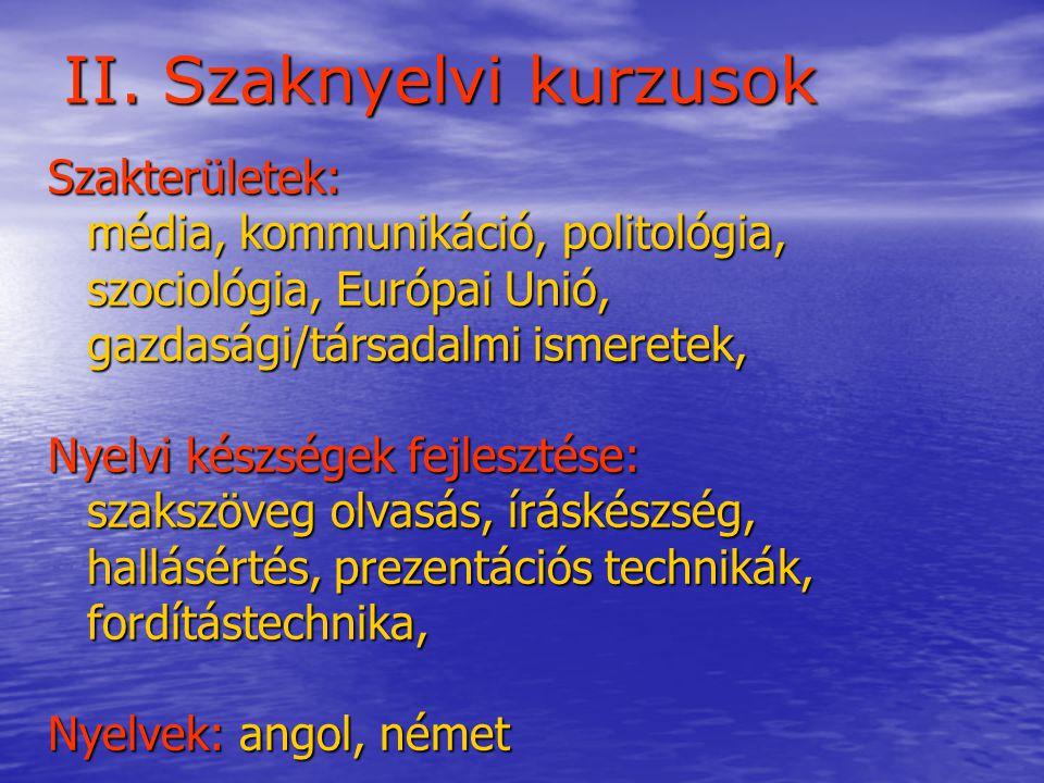 II. Szaknyelvi kurzusok Szakterületek: média, kommunikáció, politológia, média, kommunikáció, politológia, szociológia, Európai Unió, szociológia, Eur