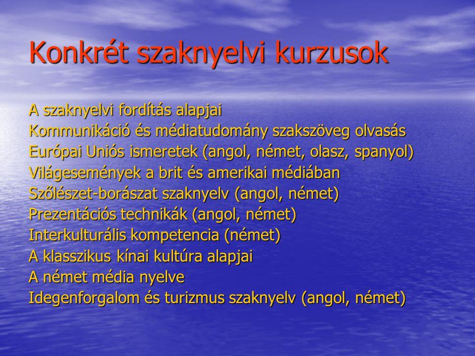 Konkrét szaknyelvi kurzusok A szaknyelvi fordítás alapjai Kommunikáció és médiatudomány szakszöveg olvasás Európai Uniós ismeretek (angol, német, olas