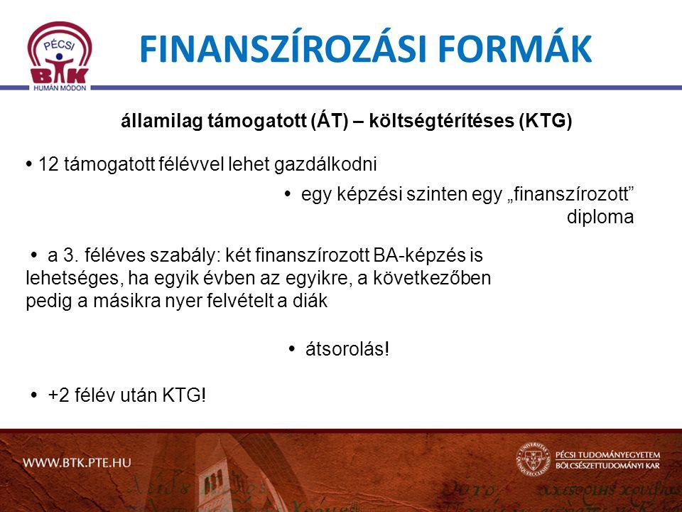 """egy képzési szinten egy """"finanszírozott diploma FINANSZÍROZÁSI FORMÁK államilag támogatott (ÁT) – költségtérítéses (KTG) 12 támogatott félévvel lehet gazdálkodni a 3."""