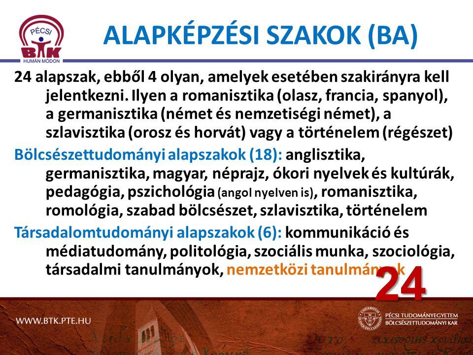 ALAPKÉPZÉSI SZAKOK (BA) 24 alapszak, ebből 4 olyan, amelyek esetében szakirányra kell jelentkezni.