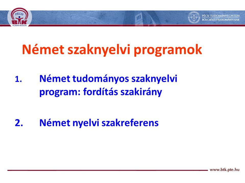 Német szaknyelvi programok 1.