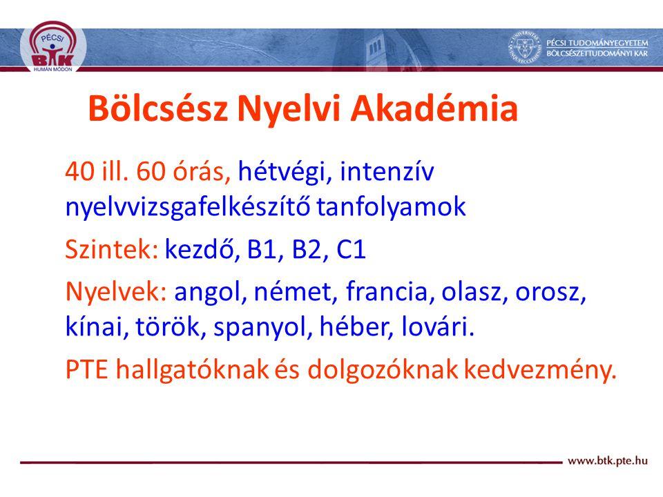 Bölcsész Nyelvi Akadémia 40 ill.
