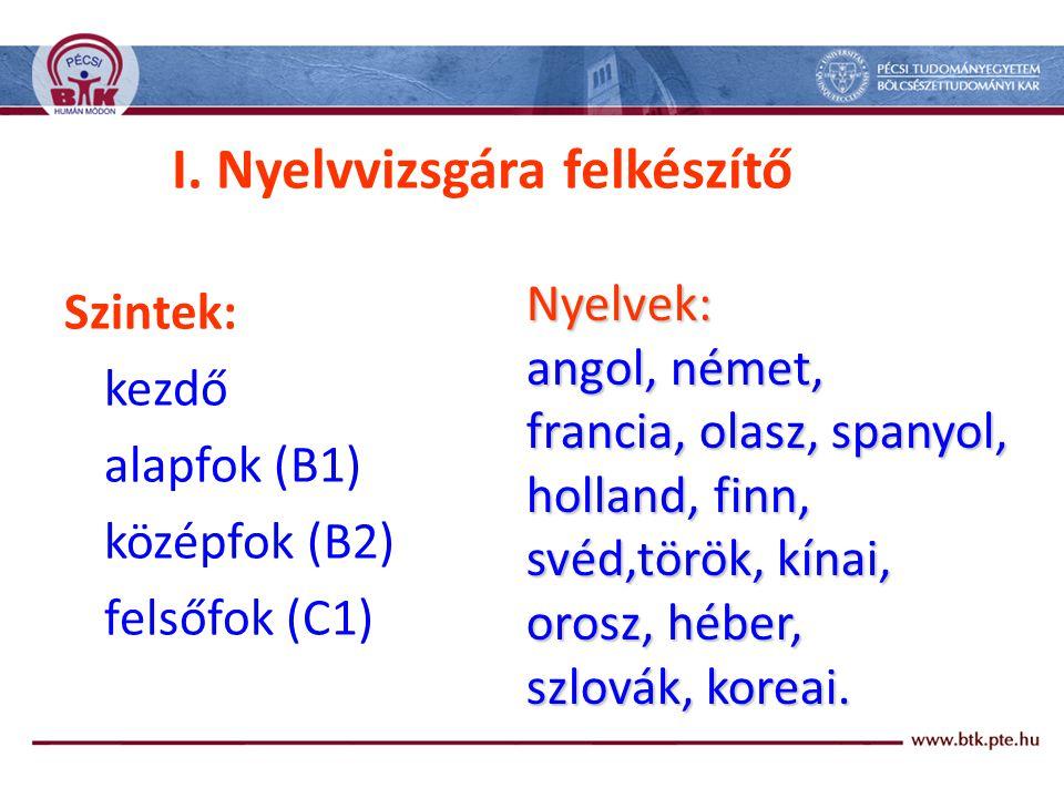 I. Nyelvvizsgára felkészítő Szintek: kezdő alapfok (B1) középfok (B2) felsőfok (C1) Nyelvek: angol, német, francia, olasz, spanyol, holland, finn, své