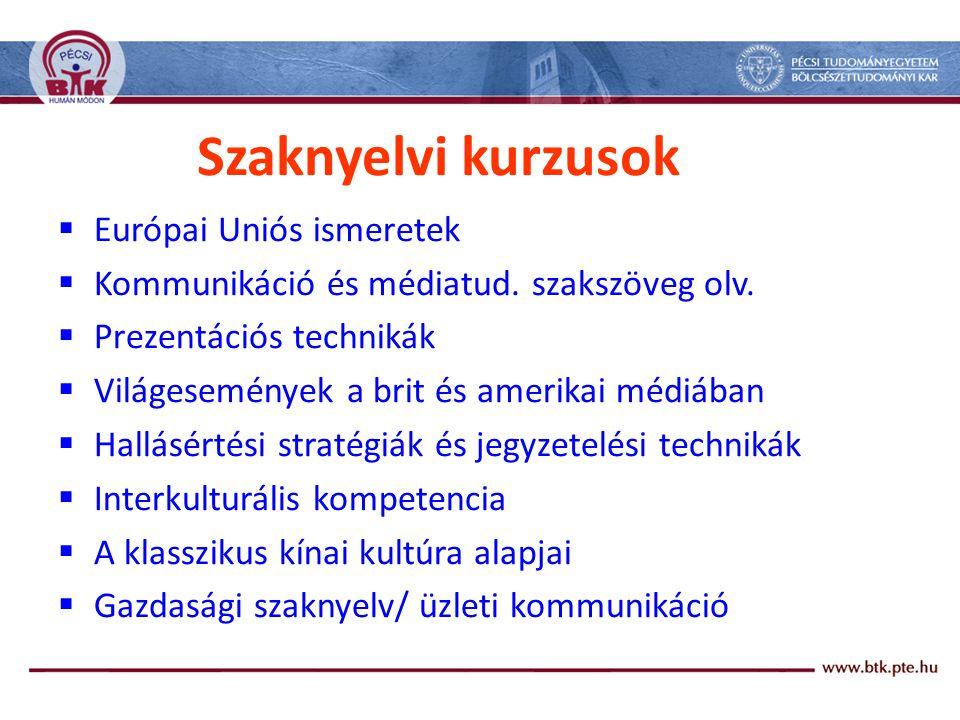 Szaknyelvi kurzusok  Európai Uniós ismeretek  Kommunikáció és médiatud.