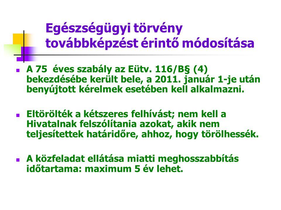Egészségügyi törvény továbbképzést érintő módosítása A 75 éves szabály az Eütv. 116/B§ (4) bekezdésébe került bele, a 2011. január 1-je után benyújtot