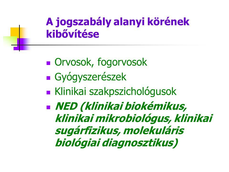 A jogszabály alanyi körének kibővítése Orvosok, fogorvosok Gyógyszerészek Klinikai szakpszichológusok NED (klinikai biokémikus, klinikai mikrobiológus, klinikai sugárfizikus, molekuláris biológiai diagnosztikus)