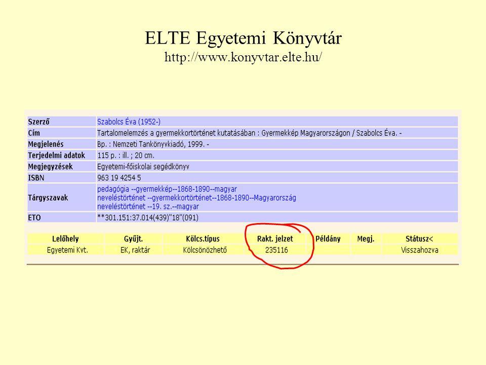 ELTE Egyetemi Könyvtár http://www.konyvtar.elte.hu/
