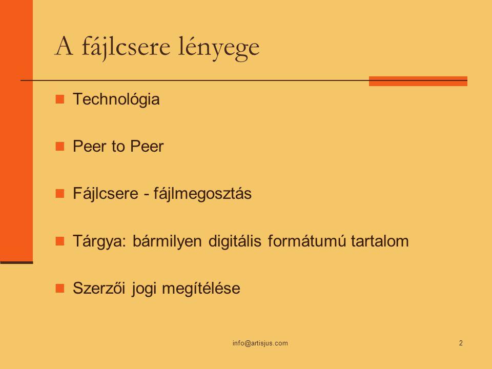 info@artisjus.com2 A fájlcsere lényege Technológia Peer to Peer Fájlcsere - fájlmegosztás Tárgya: bármilyen digitális formátumú tartalom Szerzői jogi megítélése